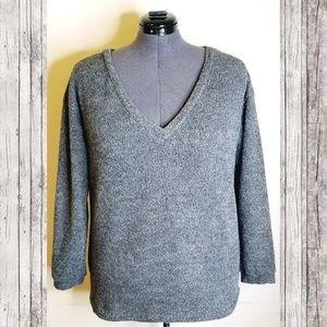 Oversize Blue Grey V-Neck Sweater